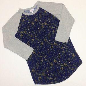 LuLaRoe Randy T-Shirt Geometric Gray Blue Yellow